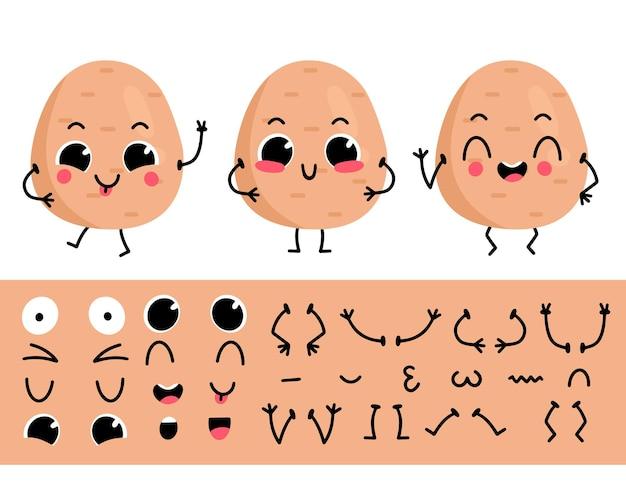 Conjunto de patatas para crear un personaje de dibujos animados divertido ilustración de vector de constructor de caracteres de patata