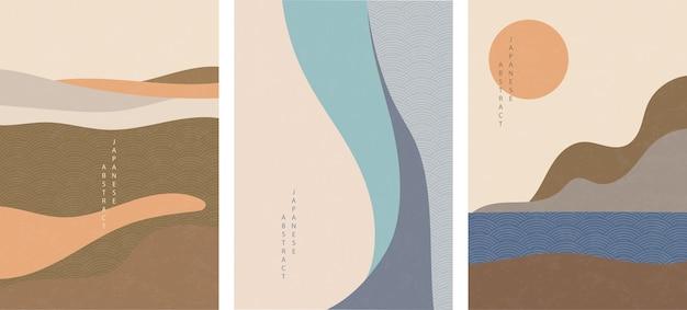 Conjunto de patrón abstracto japonés oriental