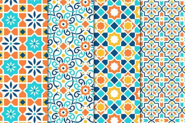 Conjunto de patrón árabe ornamental plano