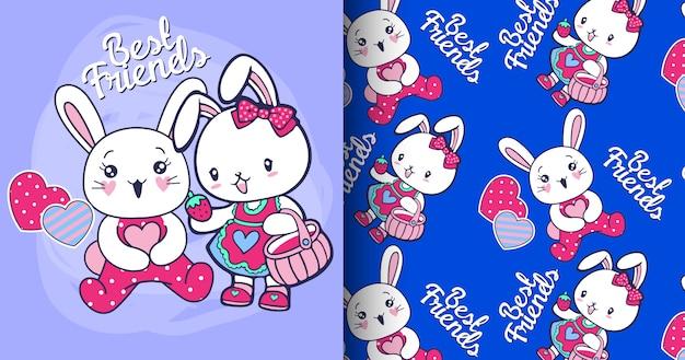Conjunto de patrón de conejo lindo dibujado a mano