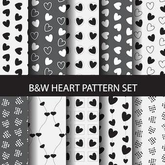 Conjunto de patrón de corazón blanco y negro