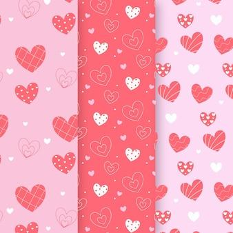 Conjunto de patrón de corazón de diseño plano