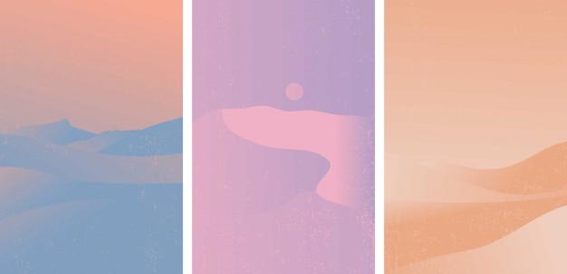 Conjunto de patrón del desierto. paisaje con color degradado popular.