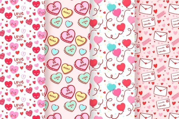 Conjunto de patrón de día de san valentín encantador plano