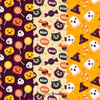 Conjunto de patrón de elementos de halloween