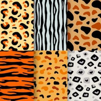 Conjunto de patrón de estampado animal moderno