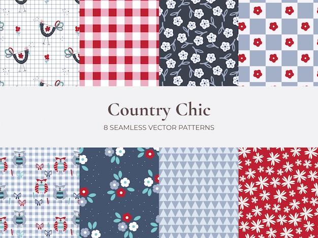Conjunto de patrón de estilo country de flores y cuadros