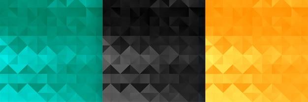 Conjunto de patrón de estilo triángulo y diamante abstracto