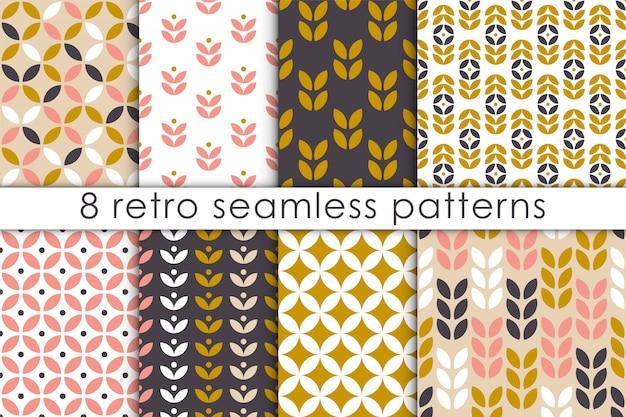 Conjunto de patrón floral sin fisuras en estilo escandinavo.
