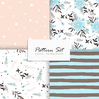 Conjunto de patrón floral vector transparente