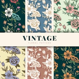 Conjunto de patrón floral vintage