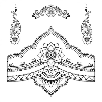 Conjunto de patrón de flores mehndi para dibujo y tatuaje de henna. decoración en estilo étnico oriental, indio. doodle de adorno. contorno