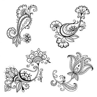 Conjunto de patrón de flores mehndi para dibujo y tatuaje de henna.
