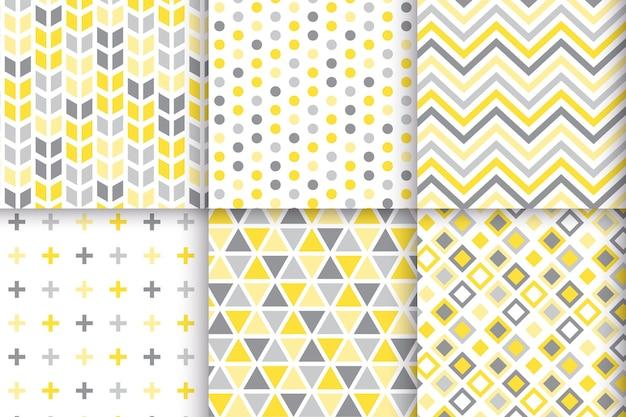 Conjunto de patrón geométrico amarillo y gris
