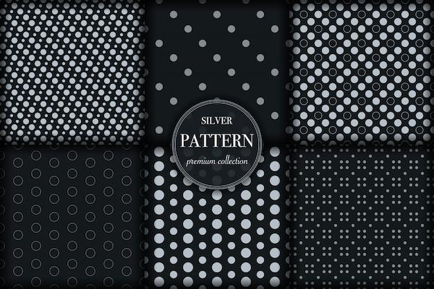 Conjunto de patrón geométrico de línea plateada oscura