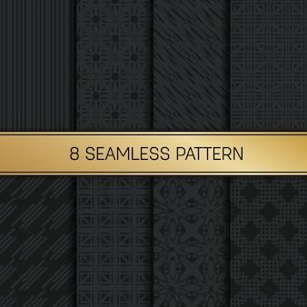 Conjunto de patrón geométrico monocromo.