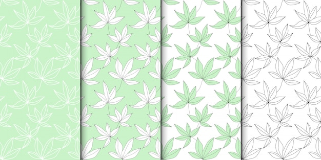 Conjunto de patrón de hojas verdes.
