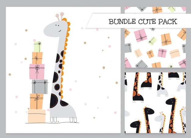 Conjunto de patrón de jirafa de cumpleaños plana de dibujos animados lindo de colección