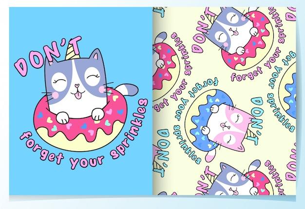 Conjunto de patrón lindo gato dibujado a mano