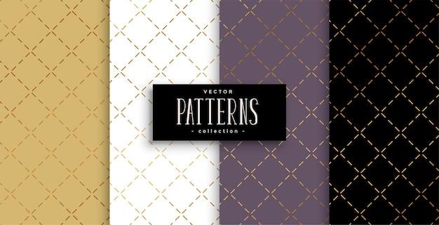 Conjunto de patrón de líneas diagonales doradas geométricas