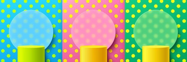 Conjunto de patrón de lunares de podio de pedestal de cilindro verde amarillo con fondo de morfismo de vidrio de círculo