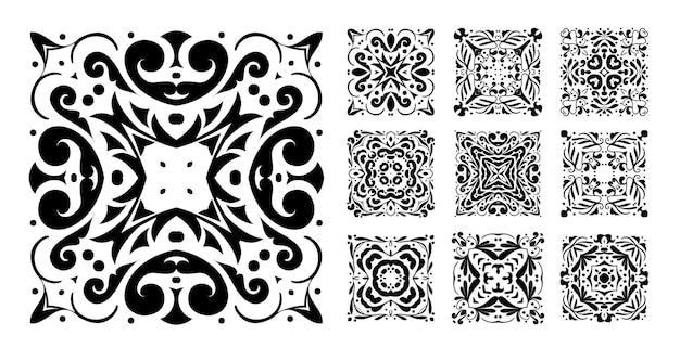 Conjunto de patrón de mandala cuadrado de diez