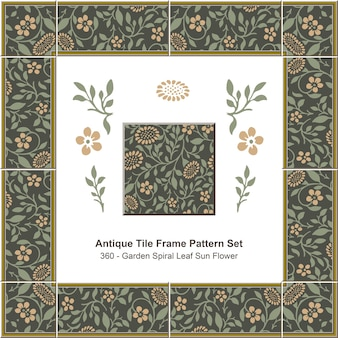Conjunto de patrón de marco de azulejo antiguo jardín espiral hoja flor de sol