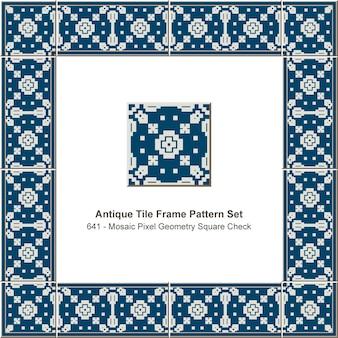 Conjunto de patrón de marco de azulejo antiguo mosaico cuadrado de geometría de píxeles, decoración de cerámica.