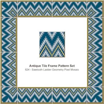 Conjunto de patrón de marco de azulejo antiguo mosaico de píxeles de geometría de escalera de diente de sierra, decoración de cerámica.