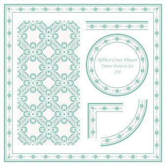 Conjunto de patrón de marco vintage de cinta cruz flor