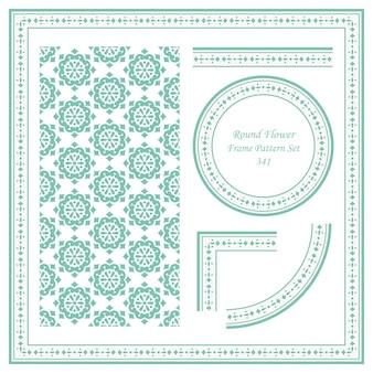 Conjunto de patrón de marco vintage de cruz de flores redondas