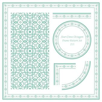 Conjunto de patrón de marco vintage de encaje de flores de octágono de cruz de estrella