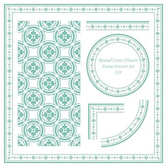 Conjunto de patrón de marco vintage de flor de cruz de círculo redondo