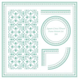 Conjunto de patrón de marco vintage de flor de cruz cuadrada