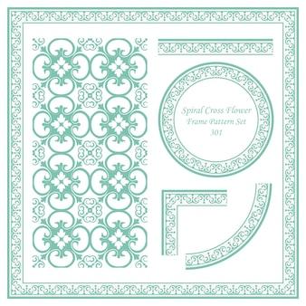 Conjunto de patrón de marco vintage de flor de cruz espiral
