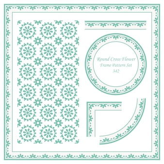 Conjunto de patrón de marco vintage de flor de cruz redonda