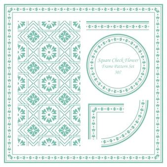 Conjunto de patrón de marco vintage de flor cruzada de cuadros cuadrados