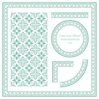 Conjunto de patrón de marco vintage de flor de línea cruzada