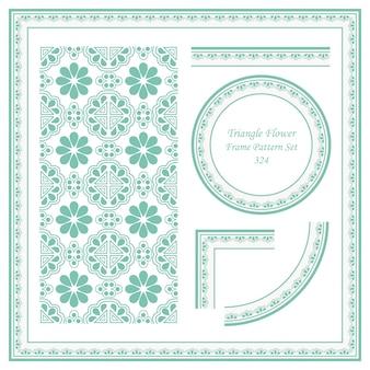 Conjunto de patrón de marco vintage de flor redonda de triángulo oriental