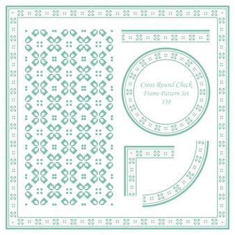 Conjunto de patrón de marco vintage de flores de cuadros redondos cruzados