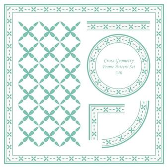 Conjunto de patrón de marco vintage de geometría cruzada