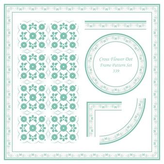 Conjunto de patrón de marco vintage de línea de punto de flor cruzada