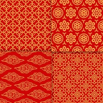 Conjunto de patrón oriental rojo
