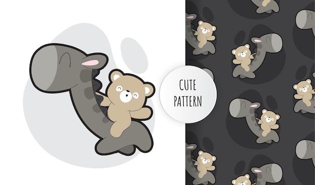 Conjunto de patrón de oso pardo lindo plano con bebé dino
