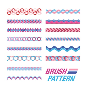 Conjunto de patrón de pincel. cepillo sin costuras
