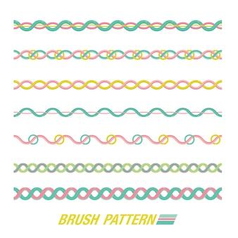 Conjunto de patrón de pincel. varias líneas para el patrón de borde.