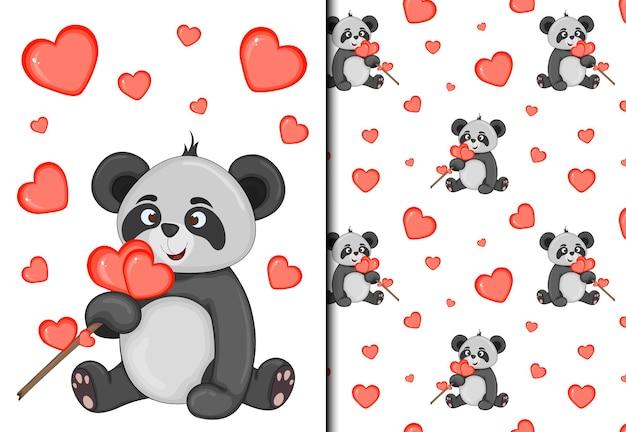 Conjunto de patrón y postal de san valentín con lindo panda. estilo de dibujos animados. ilustración vectorial.