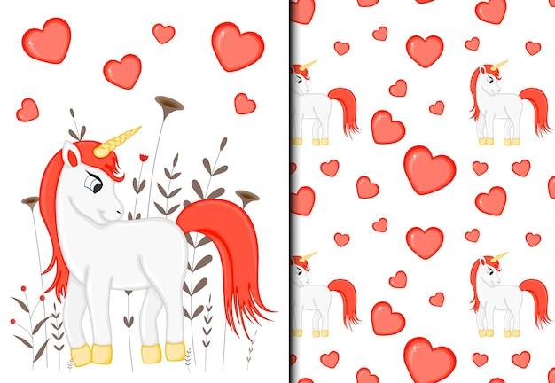 Conjunto de patrón y postal de san valentín con un lindo unicornio. estilo de dibujos animados. ilustración vectorial.