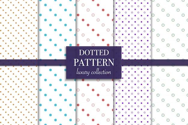 Conjunto de patrón punteado de colores. estilo de lunares.