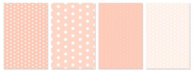 Conjunto de patrón de puntos. color coral. patrón de lunares.